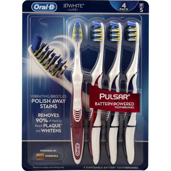 Oral-B Pulsar Oral-B 3D White Pulsar Toothbrush, 4 ct Soft Manual Oral Care