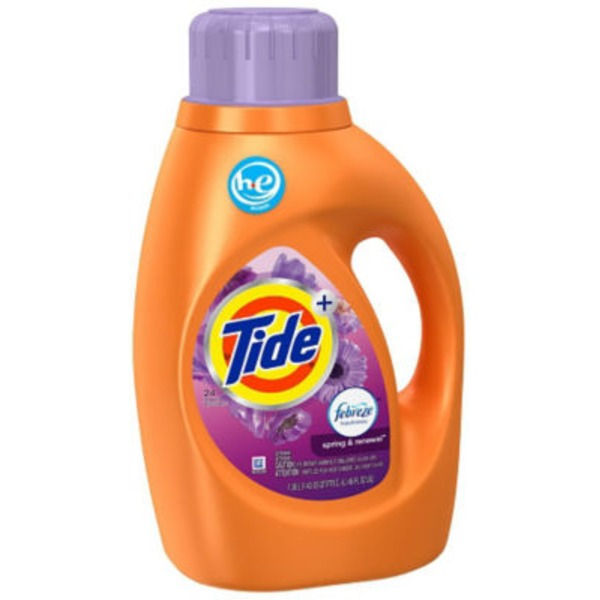 Tide Plus Febreze Freshness Spring And Renewal Scent HE Turbo Clean Liquid Laundry Detergent, 46 oz, 24 loads Laundry