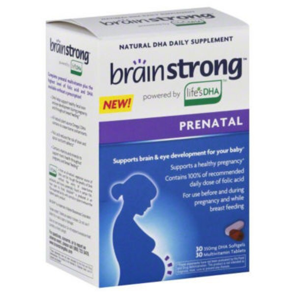 BrainStrong Prenatal Natural DHA Daily Supplement - DHA Softgels 30 CT/ Multivitamin Tablets 30 CT