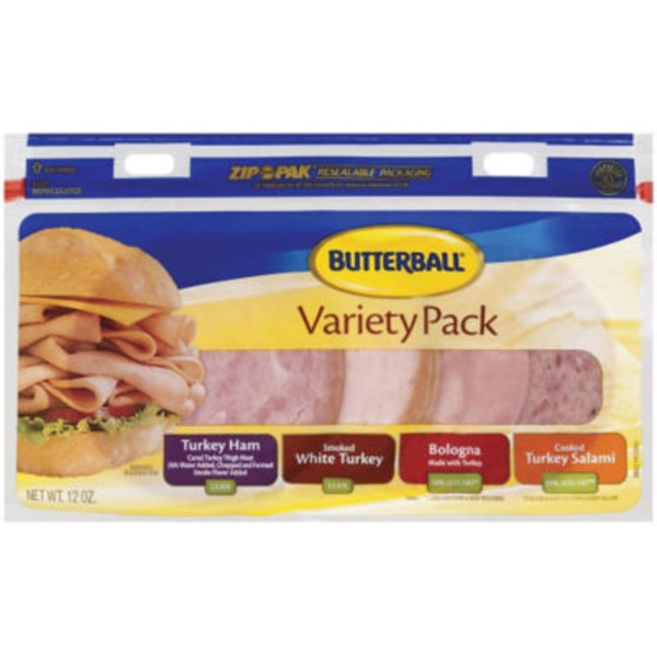 Butterball Turkey Ham/White Turkey/Bologna & Turkey Salami Variety Pack