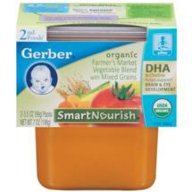 Gerber Organic 2nd Foods Farmer's Market Vegetable Blend w/Mixed Grains 7 oz (2-3.5 oz) Vegetable DHA