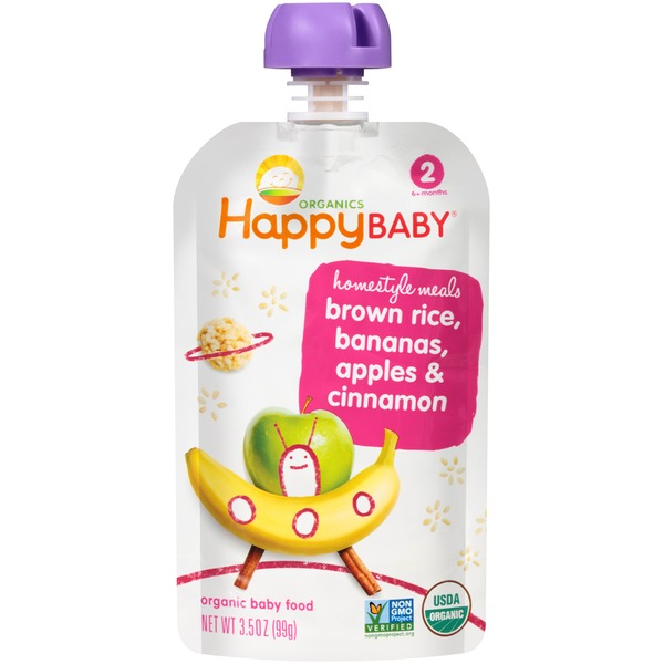Happy Baby/Family Homestyle Meals Brown Rice, Bananas, Apples & Cinnamon Organic Baby Food