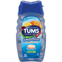 Tums Antacid/Calcium Supplement Smoothies Extra Strength 33% More Assorted Fruit