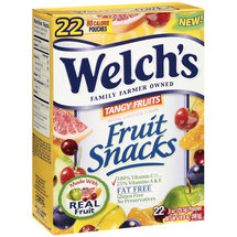 Welch's Tangy Fruits Fat Free 80 Calorie Fruit Snacks Pouches
