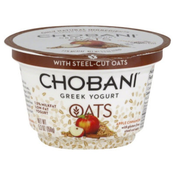Chobani Mighty Oats Apple Cinnamon Blended Low-Fat Greek Yogurt