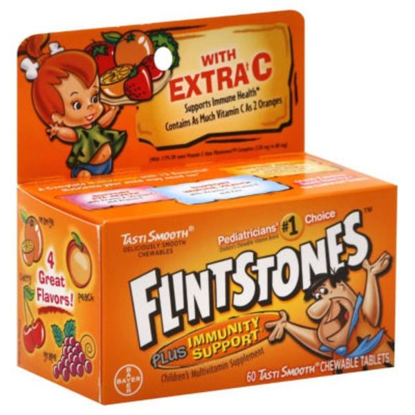 Flintstones Plus Immunity Support Children's Chewable Tablets  Multivitamin Supplement