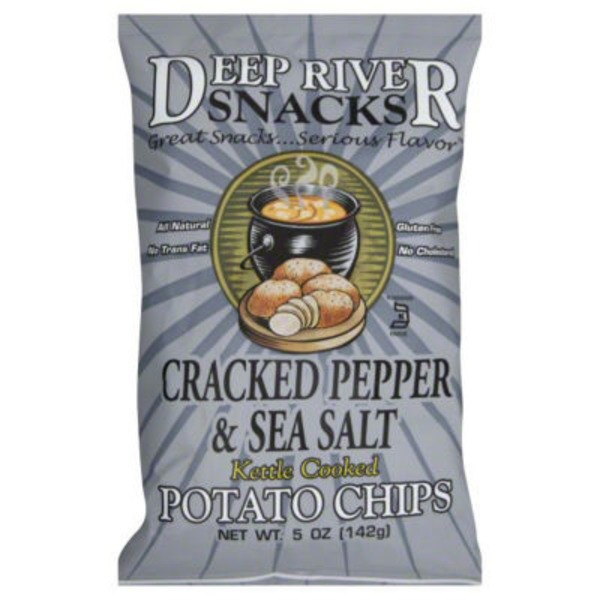 Deep River Snacks Kettle Cooked Potato Chips Krinkle Cut Salt & Cracked Pepper