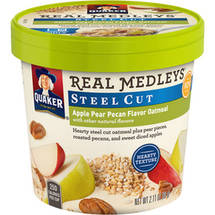 Quaker Real Medleys Steel Cut Apple Pear Pecan Flavor Oatmeal
