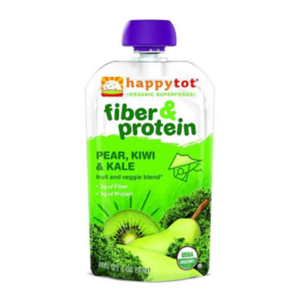 Happy Tot Organics Fiber & Protein Organic Pear, Kiwi & Kale Fruit and Veggie Blend Snack