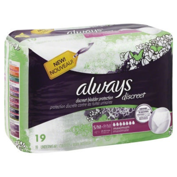 Always Discreet Always Discreet, Incontinence Underwear, Maximum Classic Cut, Small/Medium, 19 Count Feminine Care