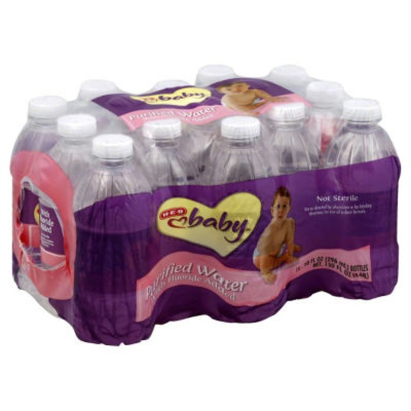 H-E-B Baby Purified Water With Fluoride Added 12 Pk Bottles