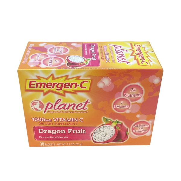Emergen-C Vitamin C 1000 Mg Dragon Fruit Drink Mix 30 Ct.