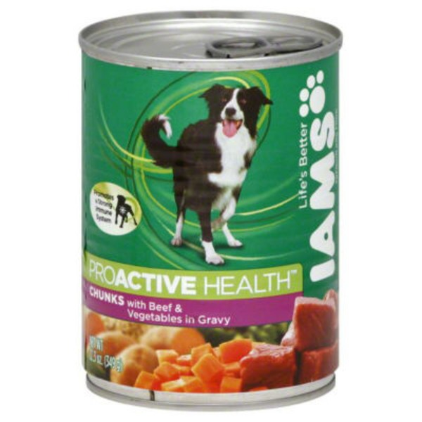 Iams ProActive Health Premium Chunks with Beef, Rice, Carrots and Green Beans in Gravy Dog Food