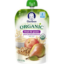 Gerber 2nd Foods Organic Fruit ; Grain Pear Peach Oatmeal Baby Food