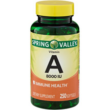 Spring Valley Vitamin A 8000 I.U. Softgels Dietary Supplement