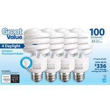 Great Value Light Bulb 23W (100W Equivalent) Spiral (CFL) Daylight