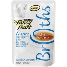 Purina Fancy Feast Broths Classic with Tuna Shrimp and Whitefish Cat Food Pouch