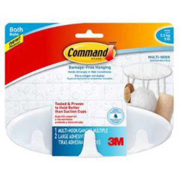 3M Command Brand Damage-Free Hanging 1-Multi Hook 2-Large Adhesive Strips - 3 CT
