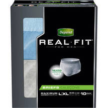 Depend Real Fit for Men Maximum Fitted Briefs Large