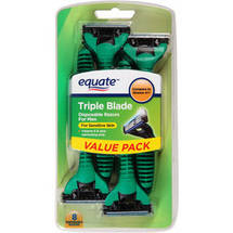 Equate Triple Blade Disposable Razors for Men for Sensitive Skin