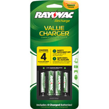 Rayovac 4-Position Charger with 2 AA/2 AAA Batteries