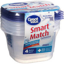Great Value Smart Match Medium Square Containers