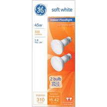 GE soft white 45 watt R20 floodlight