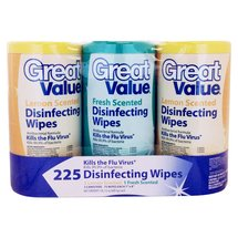 Great Value Fresh/Lemon Scented Disinfecting Wipes 75 sheets 3 count