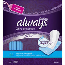 Always Dailies Xtra Protection Regular Liners Wrapped
