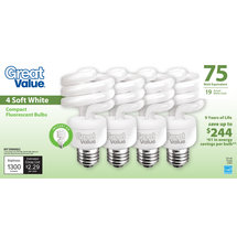 Great Value 19W Soft White CFL