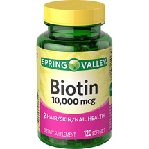 Spring Valley Biotin Dietary Supplement Softgels