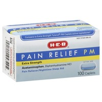 H-E-B Extra Strength Pain Relief Pm Pain Reliever And Nighttime Sleep Aid Caplets