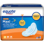 Equate Maxi Pads Overnight with Wings