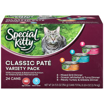 Special Kitty Classic Pate Variety Pack Wet Cat Food 5.5-Ounce Cans (Pack of 24)