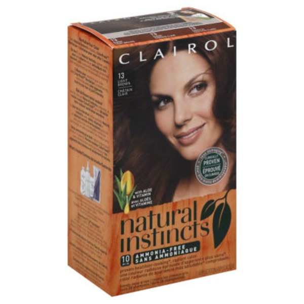 Clairol Natural Instincts, 6 / 13 Suede Light Brown, Semi-Permanent Hair Color, 1 Kit Female Hair Color