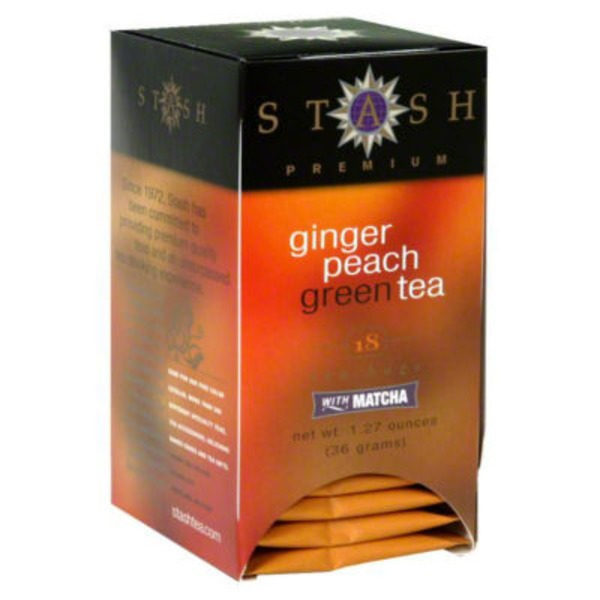 Stash Tea Ginger Peach Green with Matcha Tea Bags