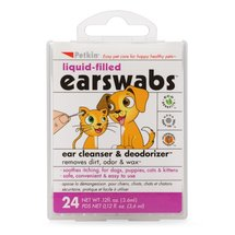 Petkin Liquid-Filled EarSwabs Ear Cleanser & Deodorizer for Dogs and Cats