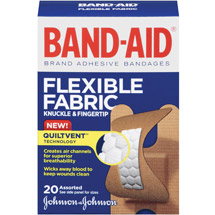 BAND-AID Flexible Fabric Knuckle & Fingertip Adhesive Bandages