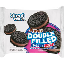Great Value Double Fudge Filled Twist & Shout Chocolate Sandwich Cookies