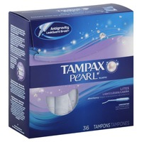 Tampax Pearl Tampax Pearl Plastic Light Absorbency, Unscented Tampons 36 Count  Feminine Care