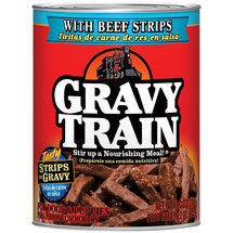 Gravy Train Strips in Gravy with Beef Strips Canned Wet Dog Food