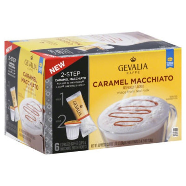 Gevalia Kaffe Caramel Macchiato K-Cup Pods & Froth Packets