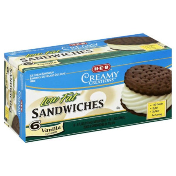 H-E-B Low Fat Vanilla Ice Cream Sandwiches