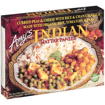 Amy's Indian Curried Peas & Cheese w/Rice & Chana Masala Organic Rice Tomatoes & Peas Mattar Paneer