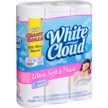 White Cloud Ultra Soft and Thick 3Ply Bath Tissue