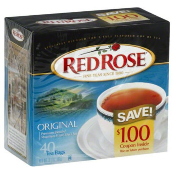 Red Rose Original  Full Flavored Black Tea Bags