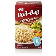 Great Value Boil in Bag Natural Whole Grain Instant Brown Rice