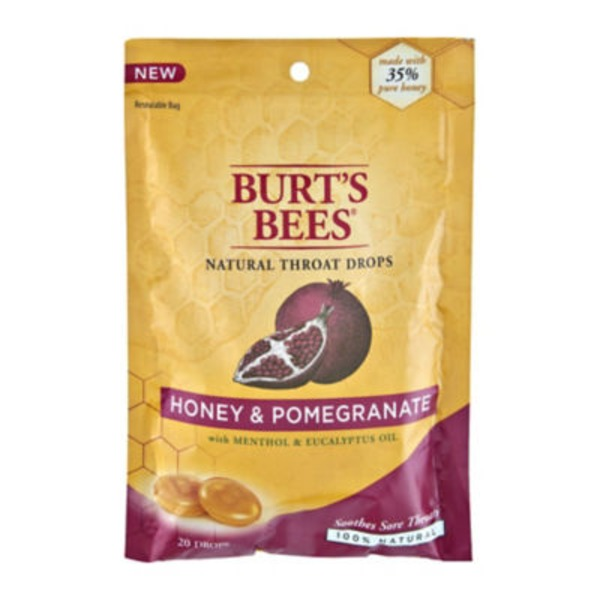 Burt's Bees Honey & Pomegranate Natural Throat Drops - 20 CT