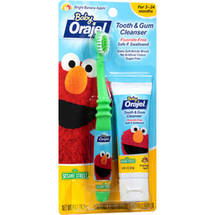 Baby Orajel Elmo Bright Banana Apple Tooth & Gum Cleanser Kit