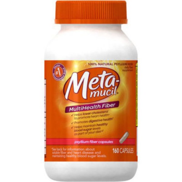Metamucil Multi-Health Fiber Capsules by Meta, 160 capsule bottle Laxative